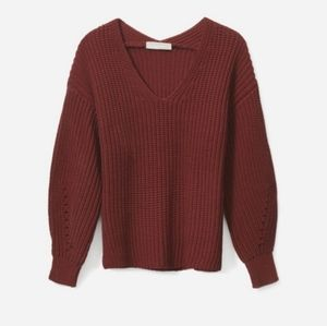 Everlane The Texture Cotton V-Neck Red Sweater